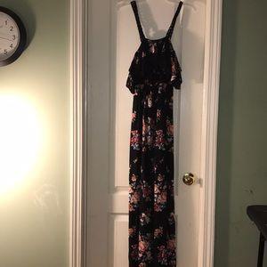 Dresses & Skirts - Sexy both side slit black floral silk like dress